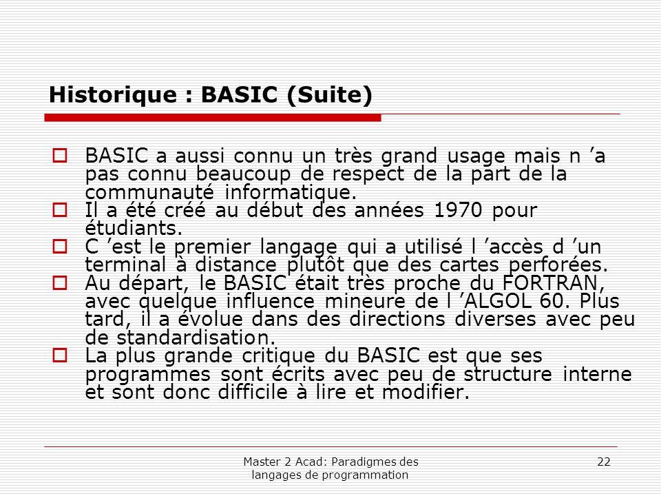 Master 2 Acad: Paradigmes des langages de programmation 22 Historique : BASIC (Suite)  BASIC a aussi connu un très grand usage mais n 'a pas connu be