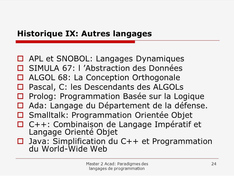 Master 2 Acad: Paradigmes des langages de programmation 24 Historique IX: Autres langages  APL et SNOBOL: Langages Dynamiques  SIMULA 67: l 'Abstrac