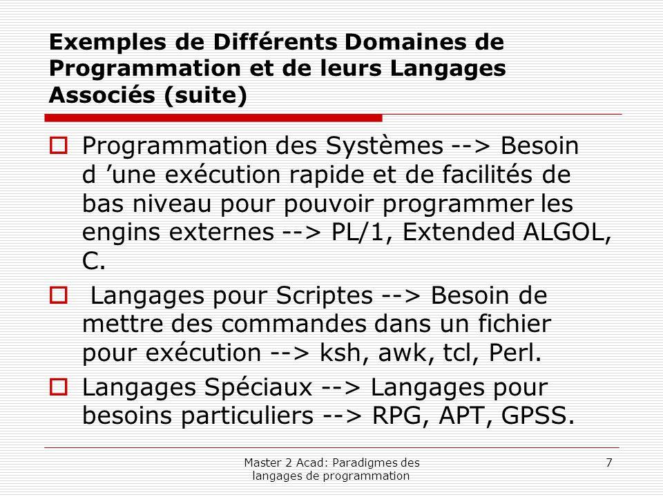 Master 2 Acad: Paradigmes des langages de programmation 7 Exemples de Différents Domaines de Programmation et de leurs Langages Associés (suite)  Pro