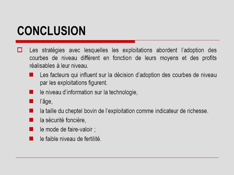 CONCLUSION  Il ressort de l'étude qu'un investissement de 49 720 Fcfa sur un ha de coton cumulé avec la même dépense de production en 1999 ( 142846 Fcfa), génère un bénéfice net la première année de 35 215 Fcfa.