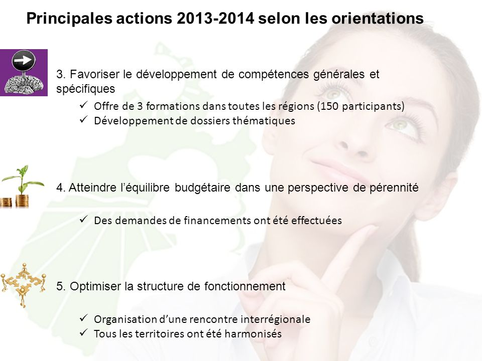 Principales actions 2013-2014 selon les orientations 3.