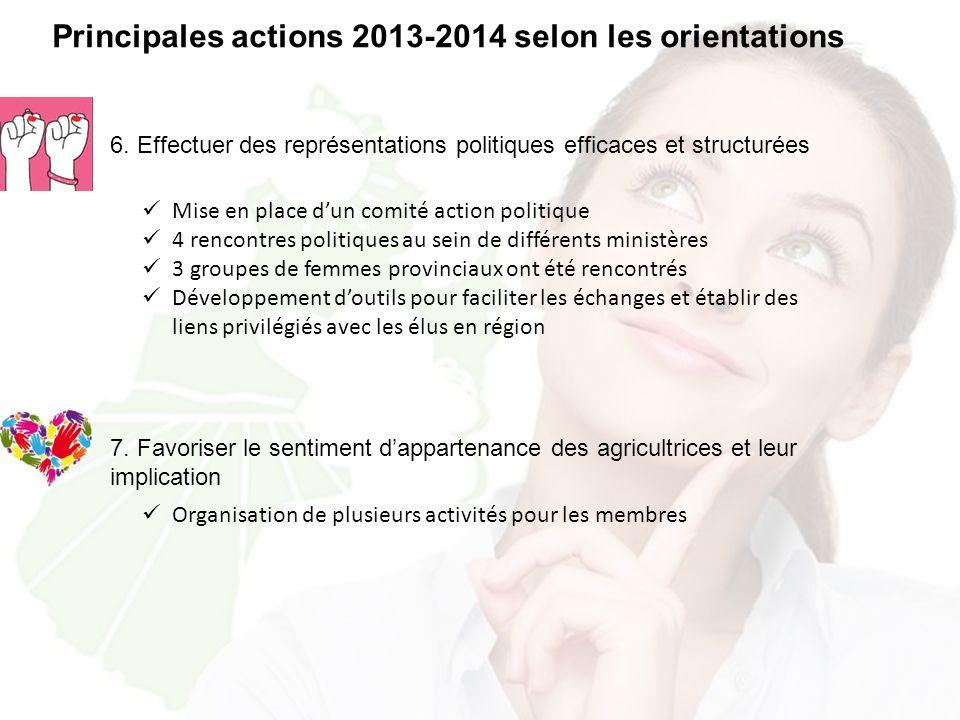 6. Effectuer des représentations politiques efficaces et structurées Principales actions 2013-2014 selon les orientations Mise en place d'un comité ac