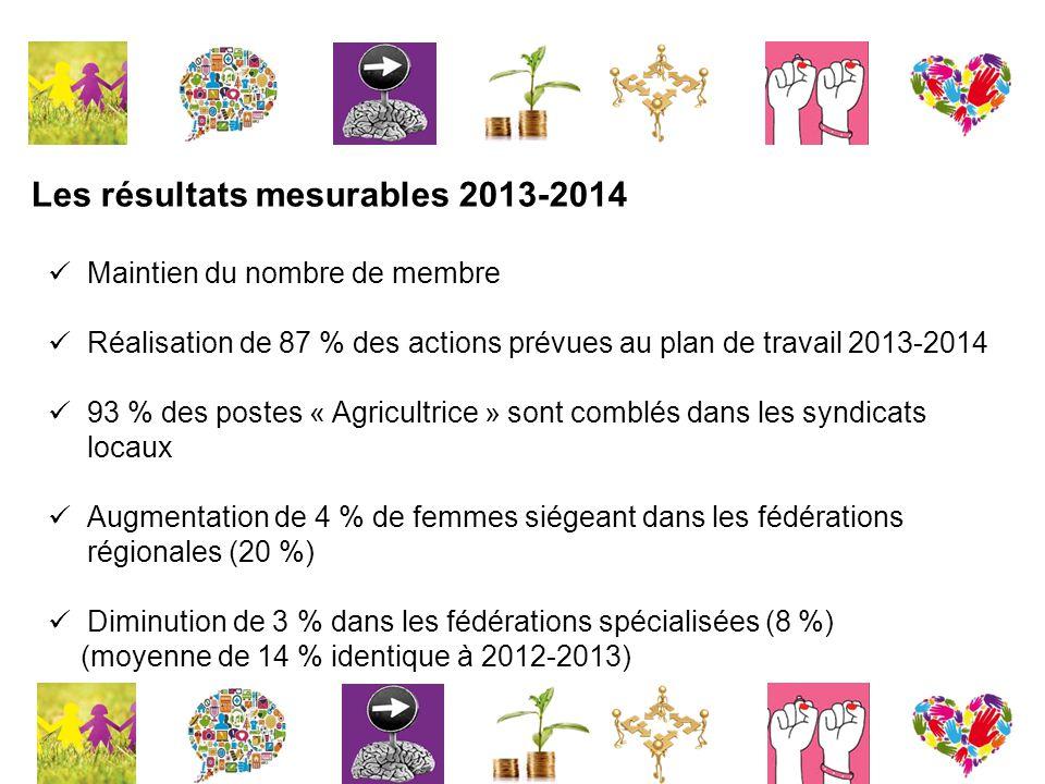 Les résultats mesurables 2013-2014 Maintien du nombre de membre Réalisation de 87 % des actions prévues au plan de travail 2013-2014 93 % des postes « Agricultrice » sont comblés dans les syndicats locaux Augmentation de 4 % de femmes siégeant dans les fédérations régionales (20 %) Diminution de 3 % dans les fédérations spécialisées (8 %) (moyenne de 14 % identique à 2012-2013)