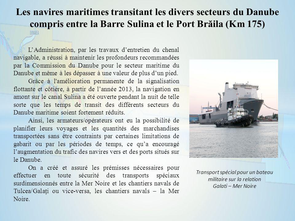 Les navires maritimes transitant les divers secteurs du Danube compris entre la Barre Sulina et le Port Brăila (Km 175) L'Administration, par les travaux d'entretien du chenal navigable, a réussi à maintenir les profondeurs recommandées par la Commission du Danube pour le secteur maritime du Danube et même à les dépasser à une valeur de plus d'un pied.