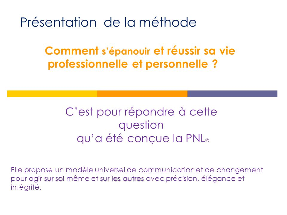 Présentation du modèle : Une définition La PNL n'est pas une théorie*. C'est un modèle issu d'une approche pragmatique. « POURQUOI ? » *La théorie rép