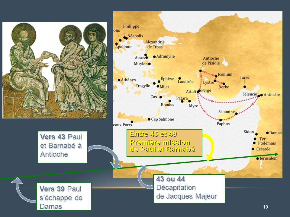 10 Vers 43 Paul et Barnabé à Antioche Vers 39 Paul s'échappe de Damas 43 ou 44 Décapitation de Jacques Majeur Entre 45 et 49 Première mission de Paul