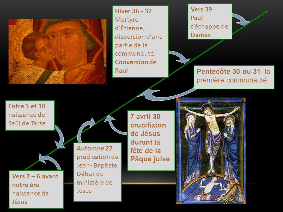 Vers 39 Paul s'échappe de Damas Hiver 36 - 37 Martyre d'Étienne, dispersion d'une partie de la communauté. Conversion de Paul Entre 5 et 10 naissance