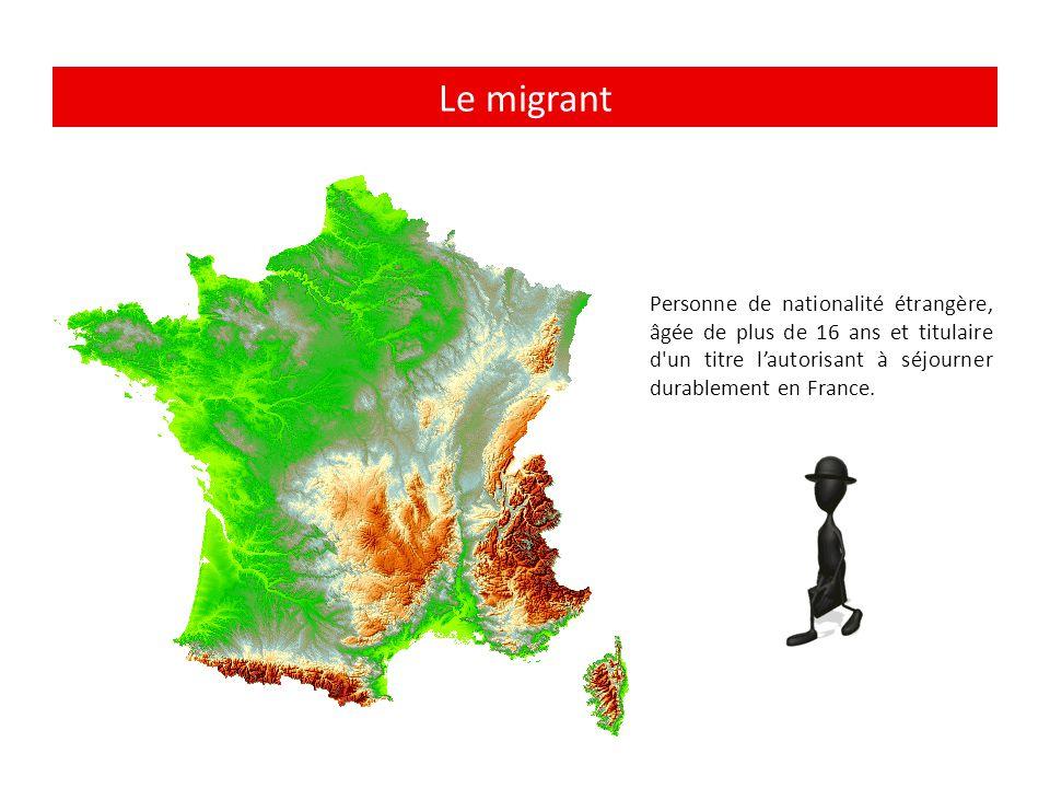 Le migrant Personne de nationalité étrangère, âgée de plus de 16 ans et titulaire d'un titre l'autorisant à séjourner durablement en France.