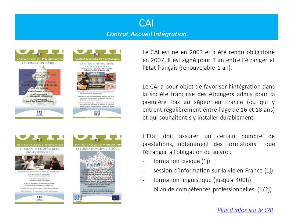 Le CAI est né en 2003 et a été rendu obligatoire en 2007. Il est signé pour 1 an entre l'étranger et l'Etat français (renouvelable 1 an). Le CAI a pou