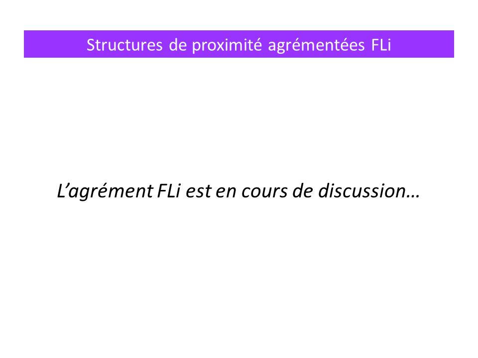 Structures de proximité agrémentées FLi L'agrément FLi est en cours de discussion…