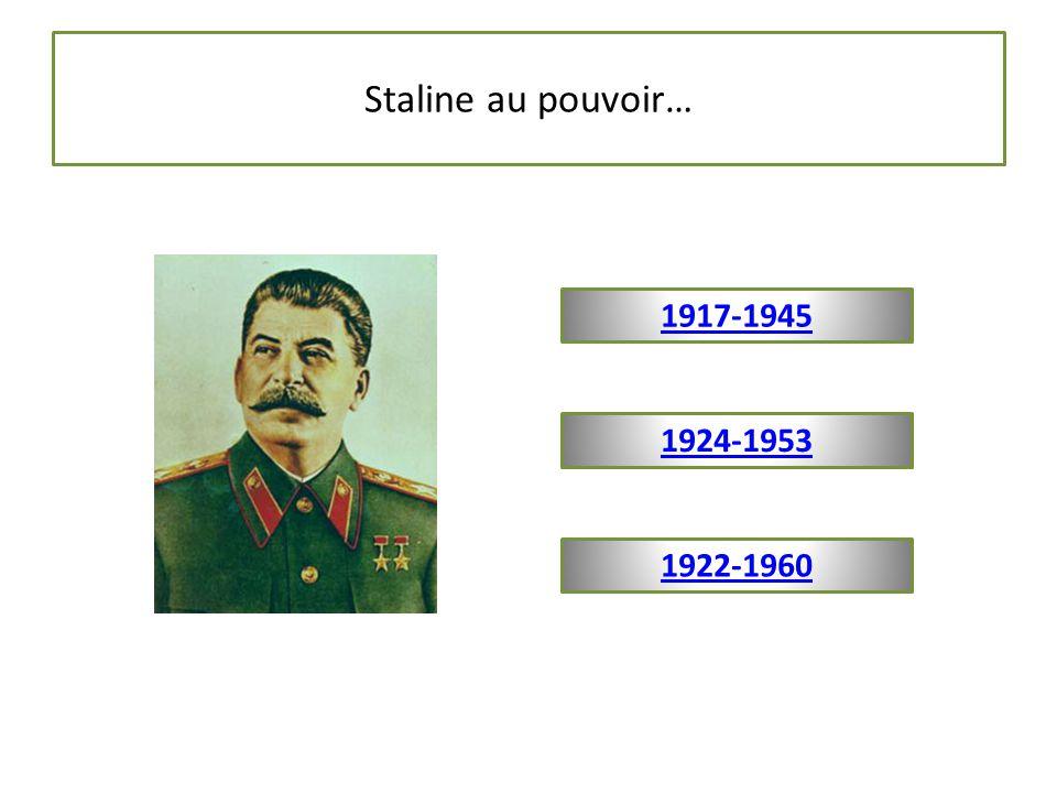 Staline au pouvoir… 1922-1960 1924-1953 1917-1945