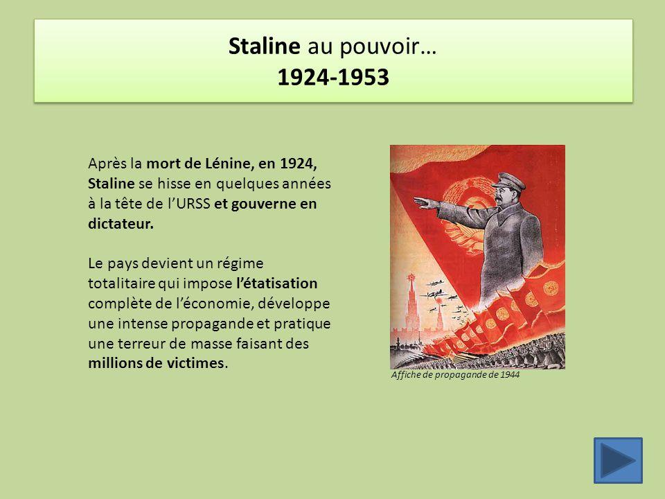 Staline au pouvoir… 1924-1953 Après la mort de Lénine, en 1924, Staline se hisse en quelques années à la tête de l'URSS et gouverne en dictateur. Le p