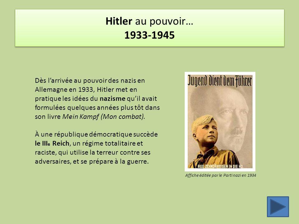Hitler au pouvoir… 1933-1945 Dès l'arrivée au pouvoir des nazis en Allemagne en 1933, Hitler met en pratique les idées du nazisme qu'il avait formulée