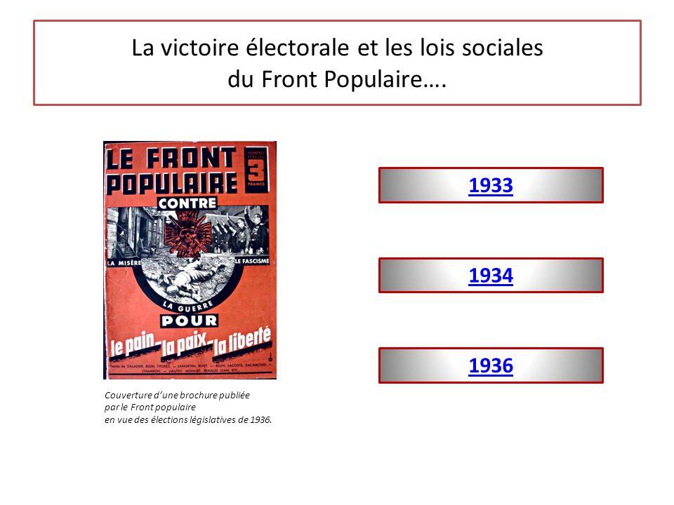La victoire électorale et les lois sociales du Front Populaire…. 1934 1936 1933 Couverture d'une brochure publiée par le Front populaire en vue des él