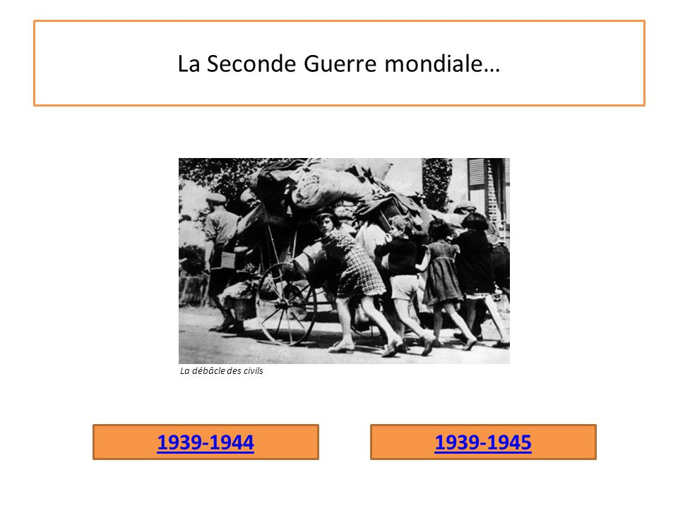 La Seconde Guerre mondiale… 1939-19441939-1945 La débâcle des civils