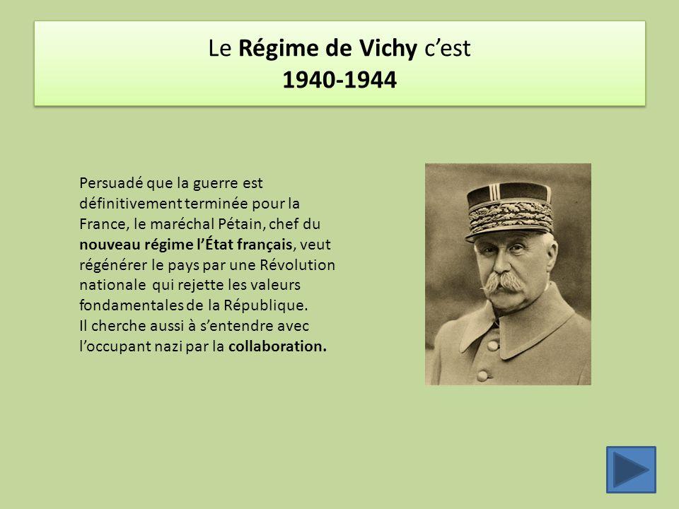 Le Régime de Vichy c'est 1940-1944 Persuadé que la guerre est définitivement terminée pour la France, le maréchal Pétain, chef du nouveau régime l'Éta