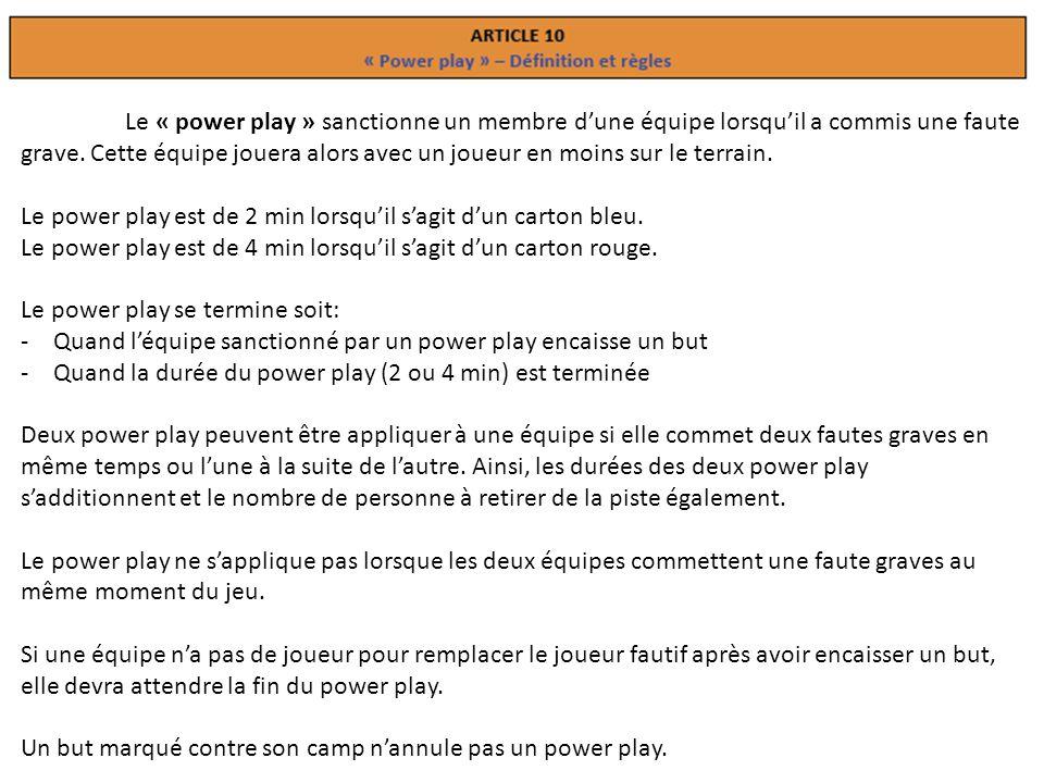 Le « power play » sanctionne un membre d'une équipe lorsqu'il a commis une faute grave.
