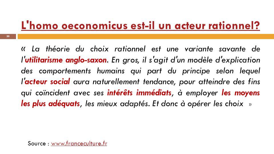 L'homo oeconomicus est-il un acteur rationnel? 20 « La théorie du choix rationnel est une variante savante de l'utilitarisme anglo-saxon. En gros, il