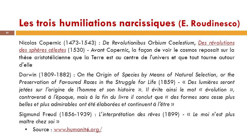 Les trois humiliations narcissiques (E. Roudinesco) 23 Nicolas Copernic (1473-1543) : De Revolutionibus Orbium Coelestium, Des révolutions des sphères