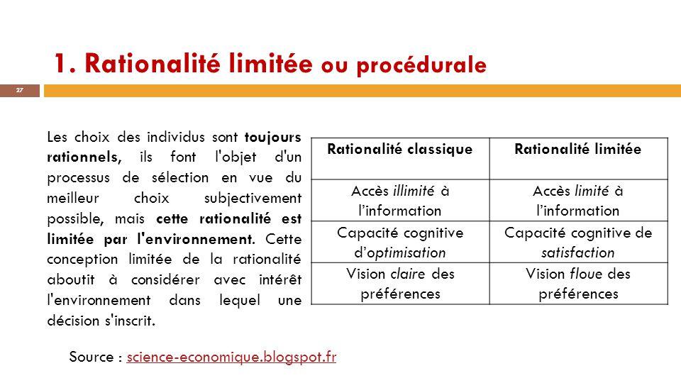 1. Rationalité limitée ou procédurale 27 Source : science-economique.blogspot.frscience-economique.blogspot.fr Rationalité classiqueRationalité limité
