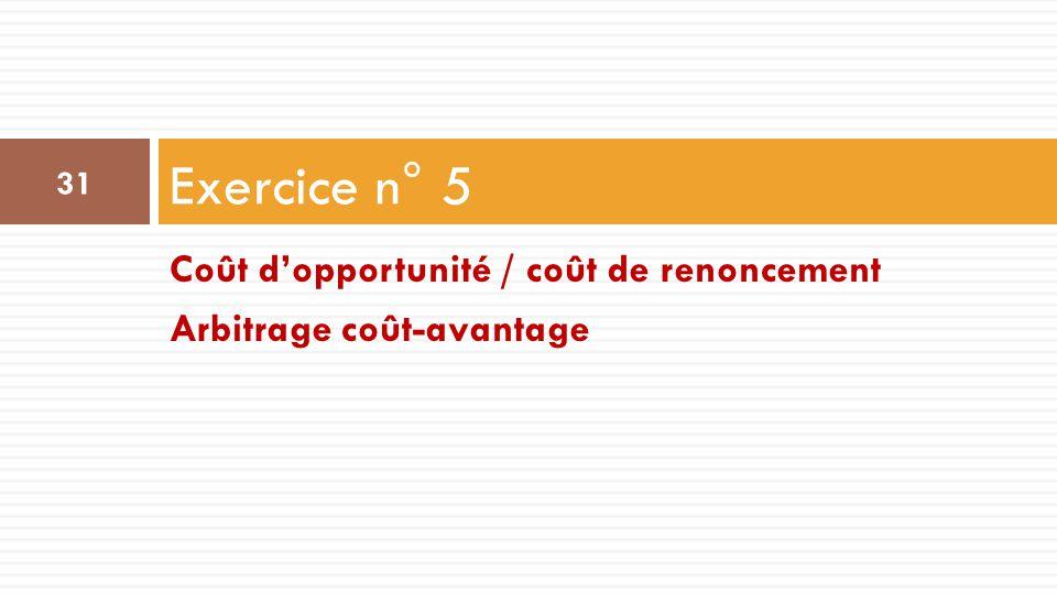 Coût d'opportunité / coût de renoncement Arbitrage coût-avantage Exercice n° 5 31