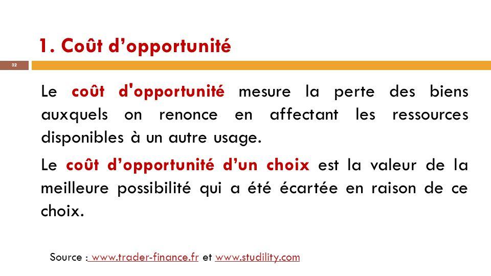 1. Coût d'opportunité 32 Le coût d'opportunité mesure la perte des biens auxquels on renonce en affectant les ressources disponibles à un autre usage.