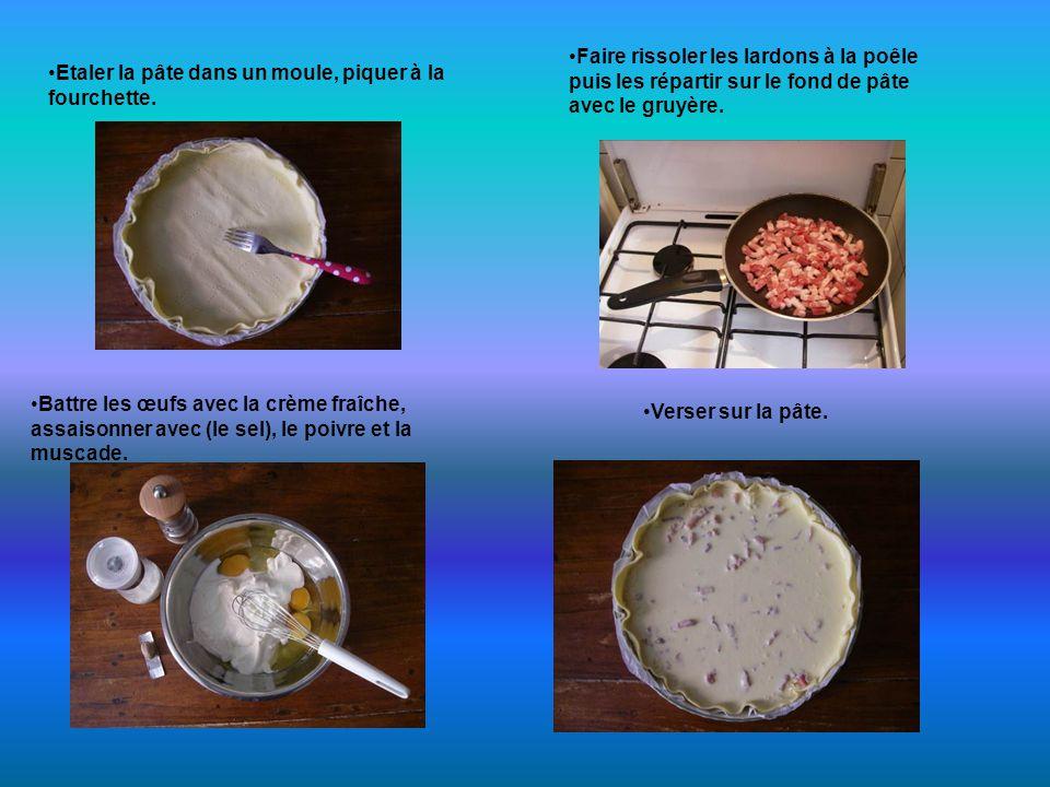 Etaler la pâte dans un moule, piquer à la fourchette.