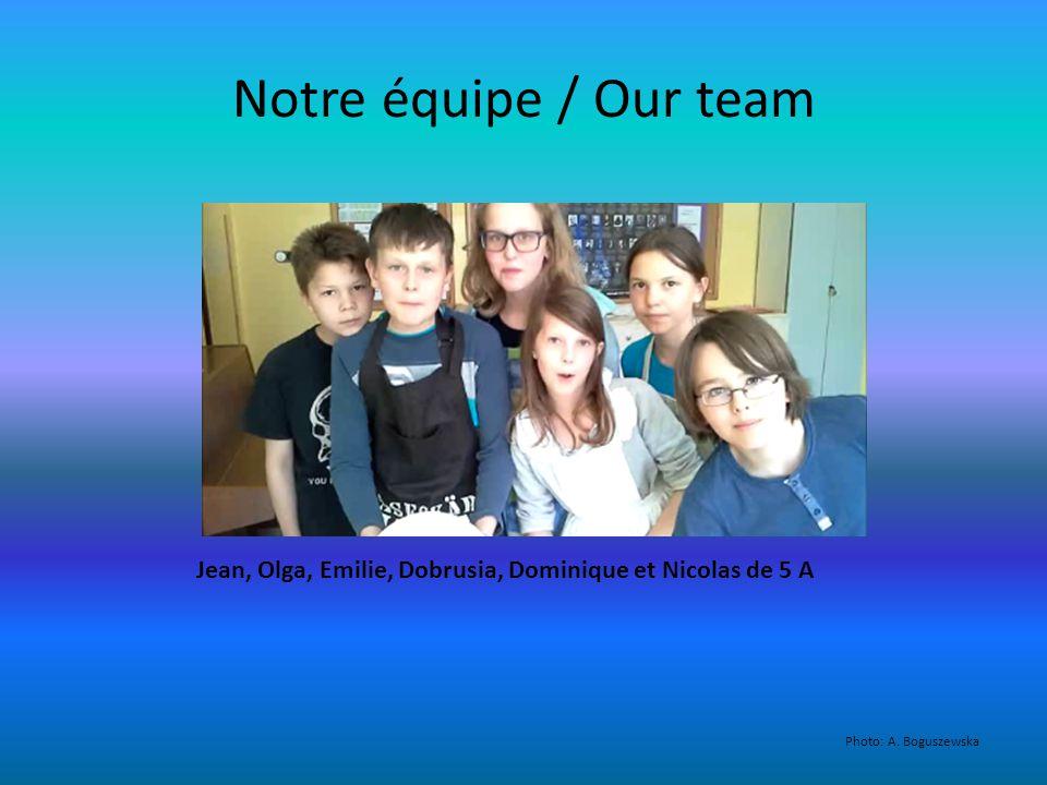 Notre équipe / Our team Jean, Olga, Emilie, Dobrusia, Dominique et Nicolas de 5 A Photo: A.
