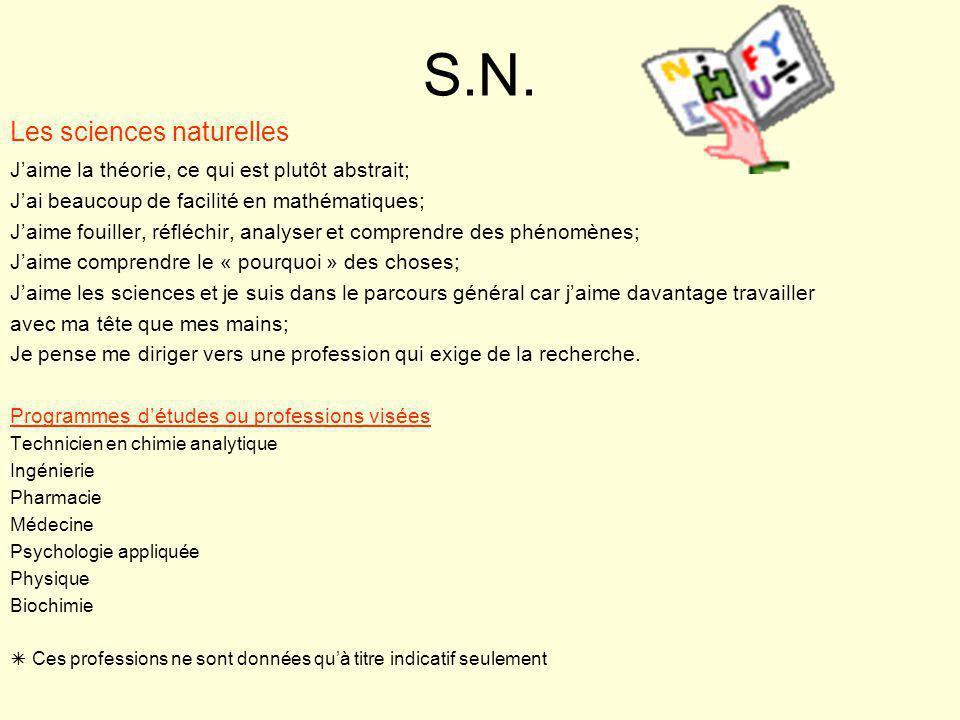 S.N. Les sciences naturelles J'aime la théorie, ce qui est plutôt abstrait; J'ai beaucoup de facilité en mathématiques; J'aime fouiller, réfléchir, an
