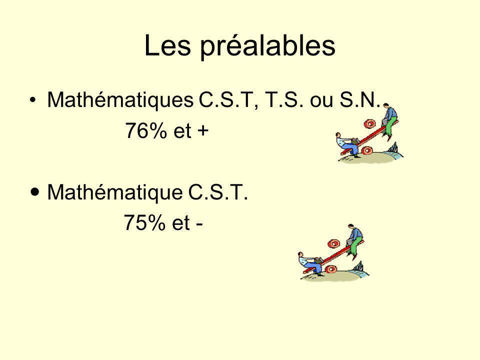 Les préalables Mathématiques C.S.T, T.S. ou S.N. 76% et + Mathématique C.S.T. 75% et -
