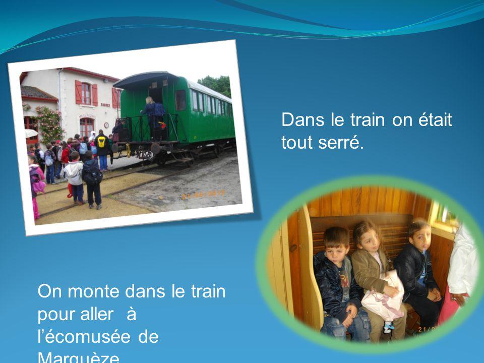 On monte dans le train pour aller à l'écomusée de Marquèze. Dans le train on était tout serré.