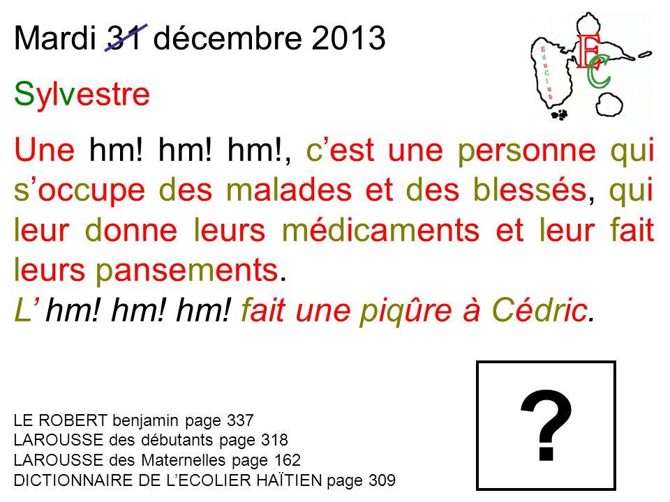 Mardi 31 décembre 2013 Sylvestre Une hm! hm! hm!, c'est une personne qui s'occupe des malades et des blessés, qui leur donne leurs médicaments et leur