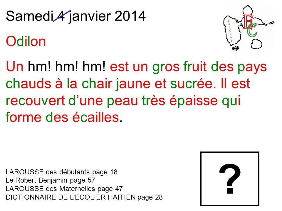 Samedi 4 janvier 2014 Odilon Un hm! hm! hm! est un gros fruit des pays chauds à la chair jaune et sucrée. Il est recouvert d'une peau très épaisse qui