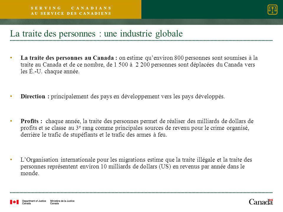 S E R V I N G C A N A D I A N S A U S E R V I C E D E S C A N A D I E N S La traite des personnes : une industrie globale La traite des personnes au Canada : on estime qu'environ 800 personnes sont soumises à la traite au Canada et de ce nombre, de 1 500 à 2 200 personnes sont déplacées du Canada vers les É.-U.