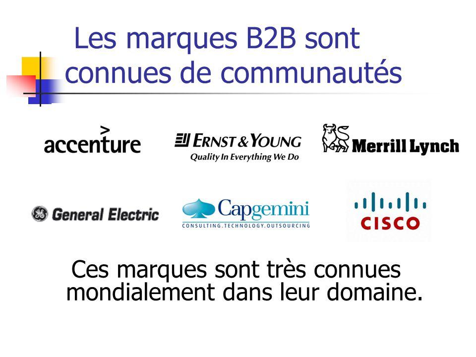 Les marques B2B sont connues de communautés Ces marques sont très connues mondialement dans leur domaine.