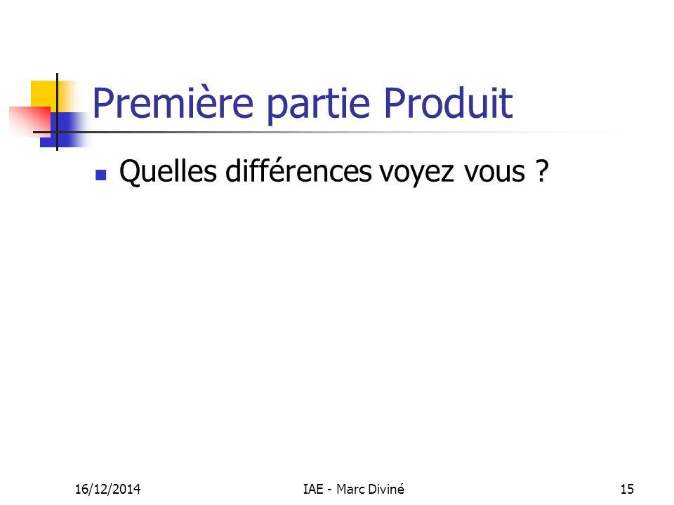 16/12/2014IAE - Marc Diviné15 Première partie Produit Quelles différences voyez vous ?