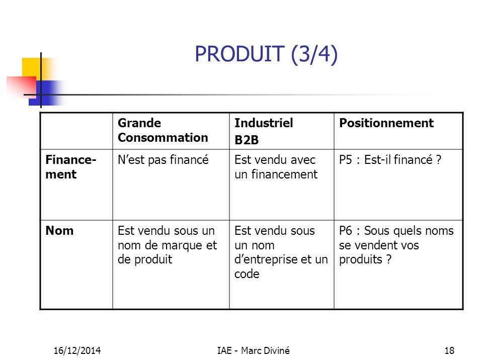16/12/2014IAE - Marc Diviné18 PRODUIT (3/4) Grande Consommation Industriel B2B Positionnement Finance- ment N'est pas financéEst vendu avec un finance