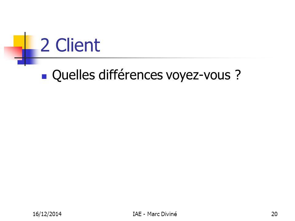 16/12/2014IAE - Marc Diviné20 2 Client Quelles différences voyez-vous ?