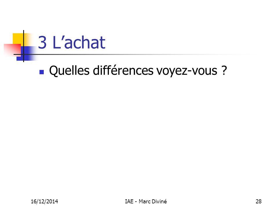 16/12/2014IAE - Marc Diviné28 3 L'achat Quelles différences voyez-vous ?