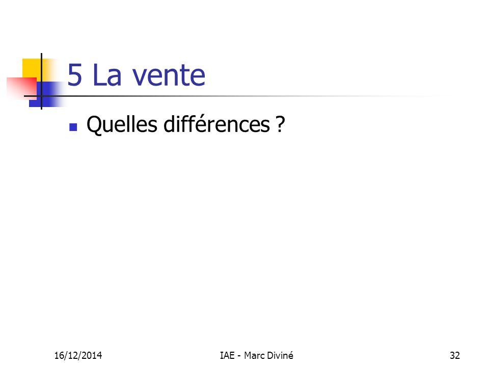 16/12/2014IAE - Marc Diviné32 5 La vente Quelles différences ?