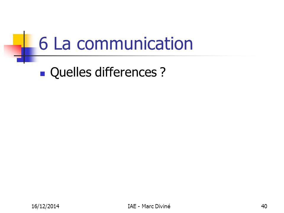 16/12/2014IAE - Marc Diviné40 6 La communication Quelles differences ?