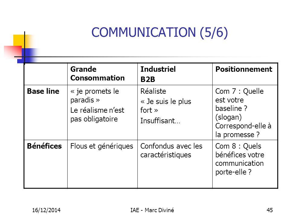 16/12/2014IAE - Marc Diviné45 COMMUNICATION (5/6) Grande Consommation Industriel B2B Positionnement Base line« je promets le paradis » Le réalisme n'e