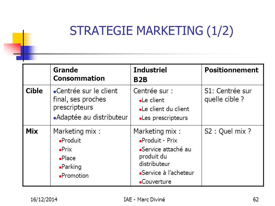 16/12/2014IAE - Marc Diviné62 STRATEGIE MARKETING (1/2) Grande Consommation Industriel B2B Positionnement Cible Centrée sur le client final, ses proch