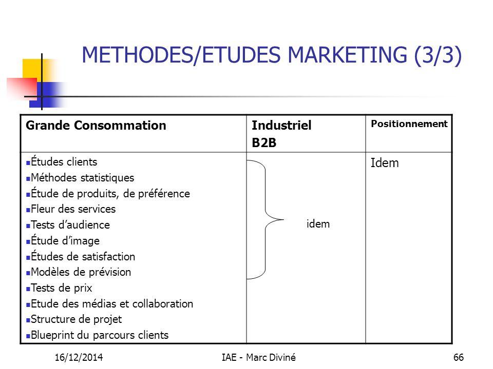 16/12/2014IAE - Marc Diviné66 METHODES/ETUDES MARKETING (3/3) Grande ConsommationIndustriel B2B Positionnement Études clients Méthodes statistiques Ét