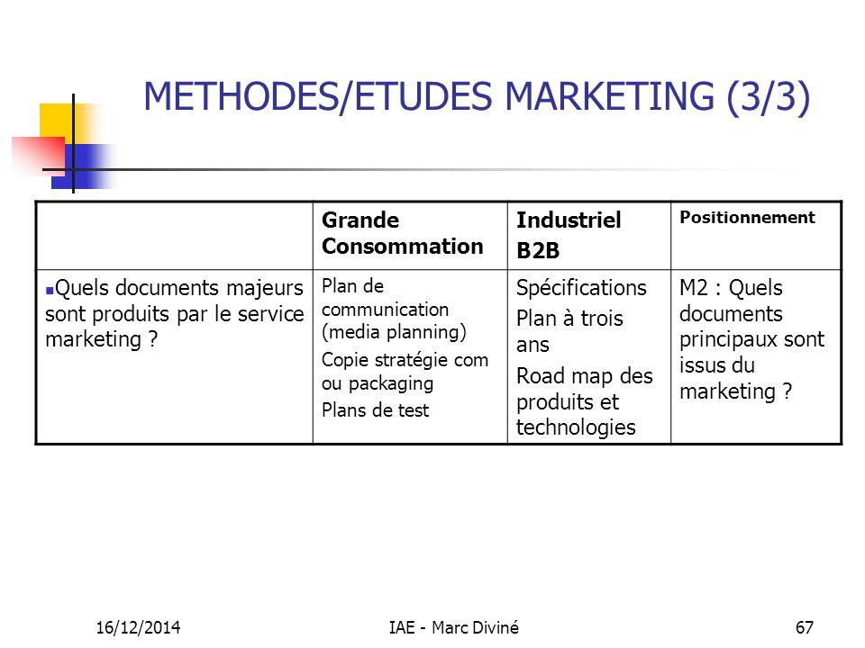 16/12/2014IAE - Marc Diviné67 METHODES/ETUDES MARKETING (3/3) Grande Consommation Industriel B2B Positionnement Quels documents majeurs sont produits