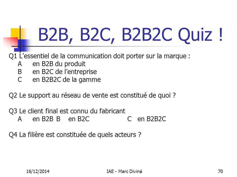 16/12/2014IAE - Marc Diviné70 B2B, B2C, B2B2C Quiz ! Q1 L'essentiel de la communication doit porter sur la marque : A en B2B du produit B en B2C de l'