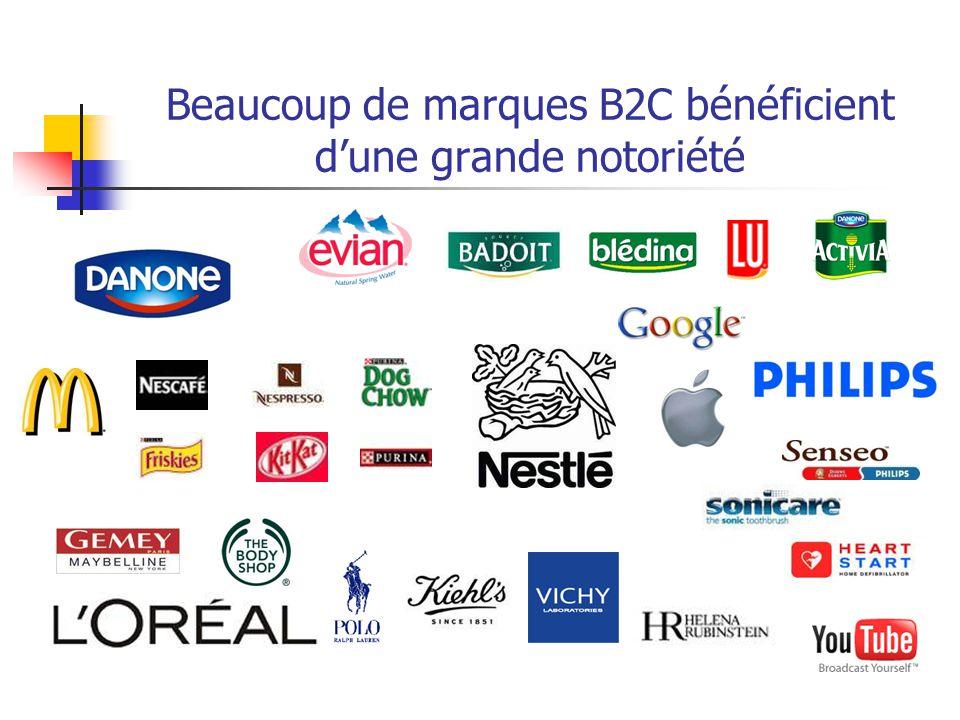 Beaucoup de marques B2C bénéficient d'une grande notoriété