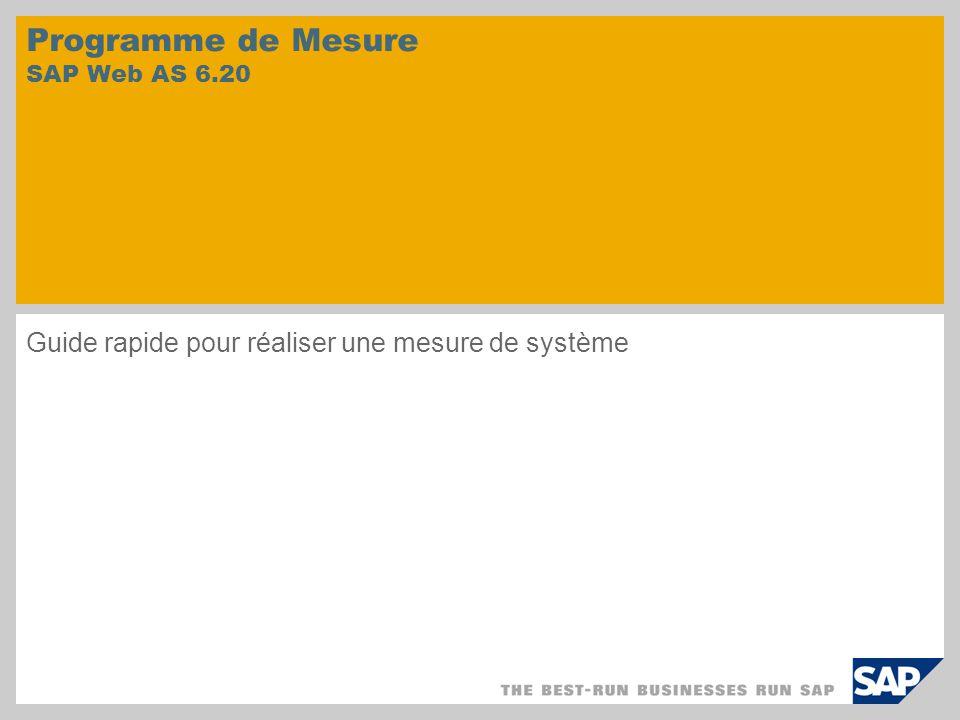 Programme de Mesure SAP Web AS 6.20 Guide rapide pour réaliser une mesure de système