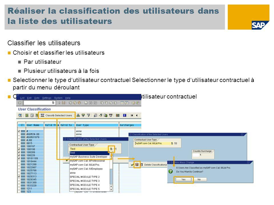 Réaliser la classification des utilisateurs dans la liste des utilisateurs Classifier les utilisateurs Choisir et classifier les utilisateurs Par utilisateur Plusieur utilisateurs à la fois Selectionner le type d'utilisateur contractuel Selectionner le type d'utilisateur contractuel à partir du menu déroulant Classifier tous les utilisateurs selon leur type d'utilisateur contractuel
