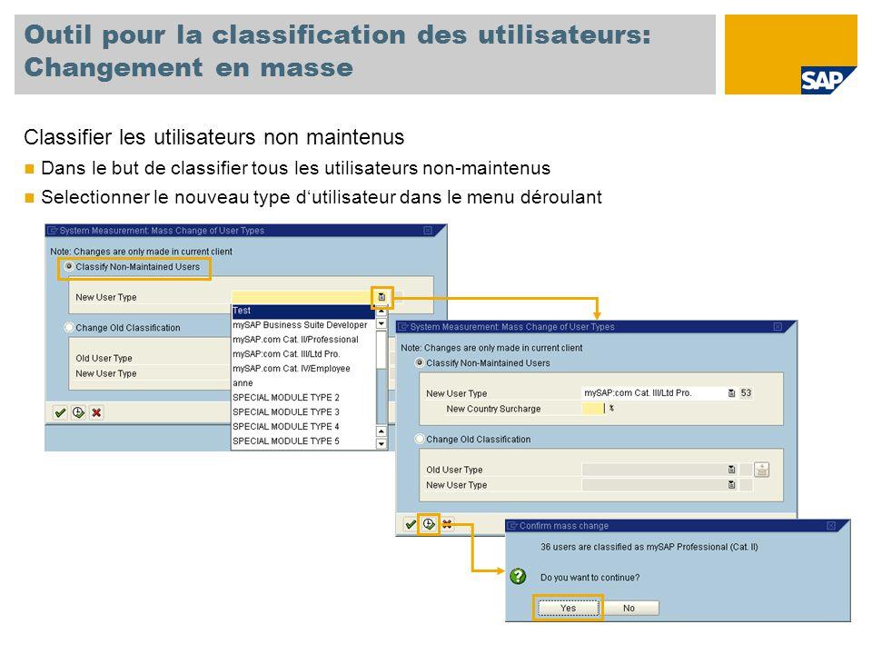 Outil pour la classification des utilisateurs: Changement en masse Classifier les utilisateurs non maintenus Dans le but de classifier tous les utilisateurs non-maintenus Selectionner le nouveau type d'utilisateur dans le menu déroulant